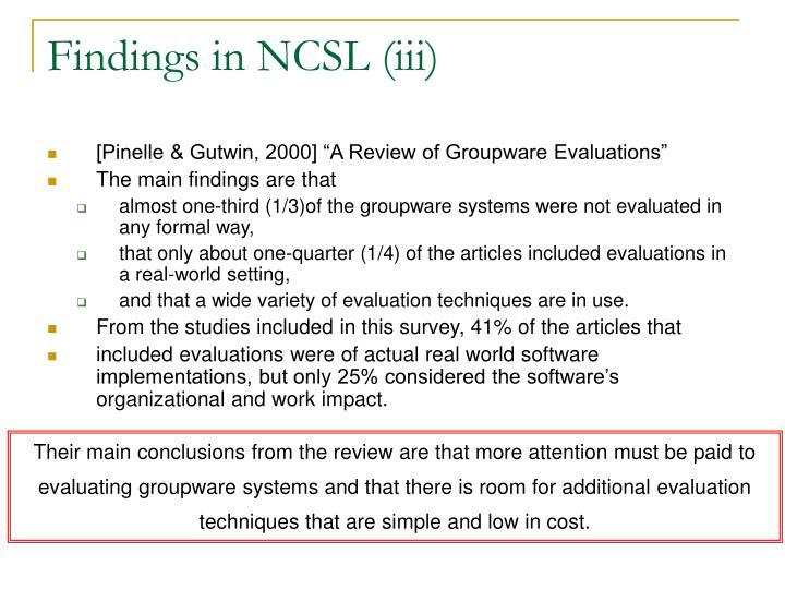 Findings in NCSL (iii)