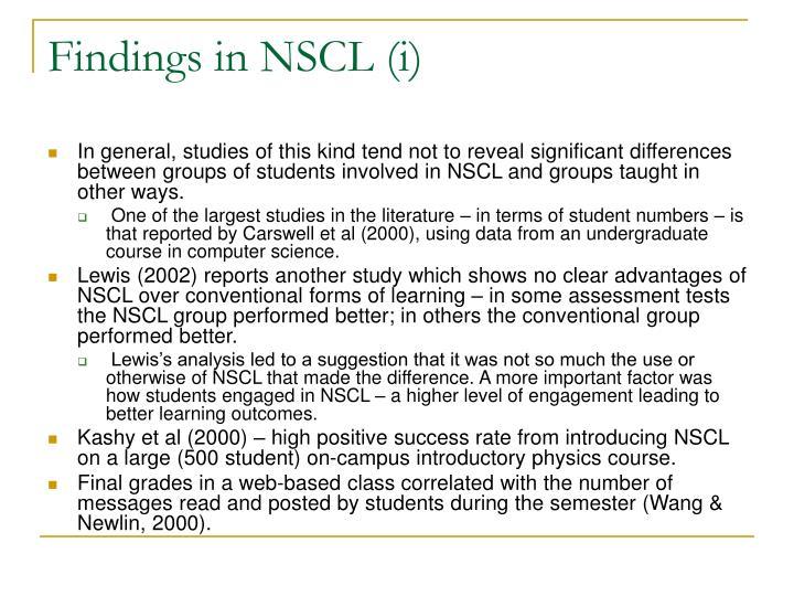 Findings in NSCL (i)