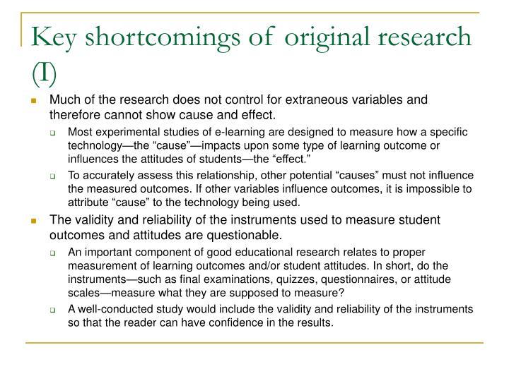 Key shortcomings of original research (I)
