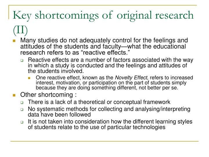 Key shortcomings of original research (II)