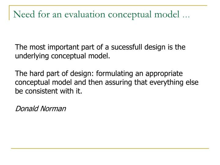 Need for an evaluation conceptual model