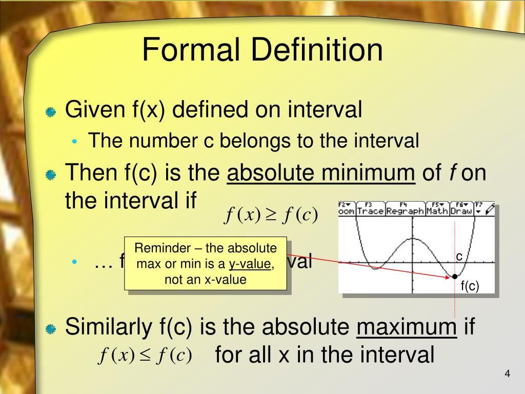 Reminder – the absolute max or min is a