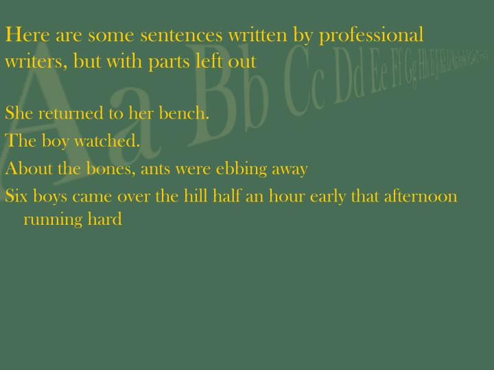 Here are some sentences written by professional writers but with parts left out