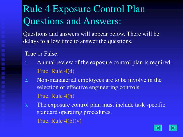 Rule 4 Exposure Control Plan