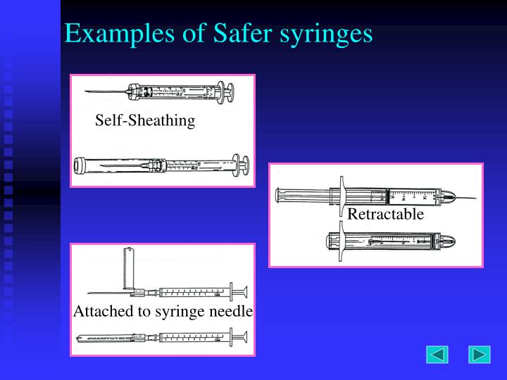 Examples of Safer syringes