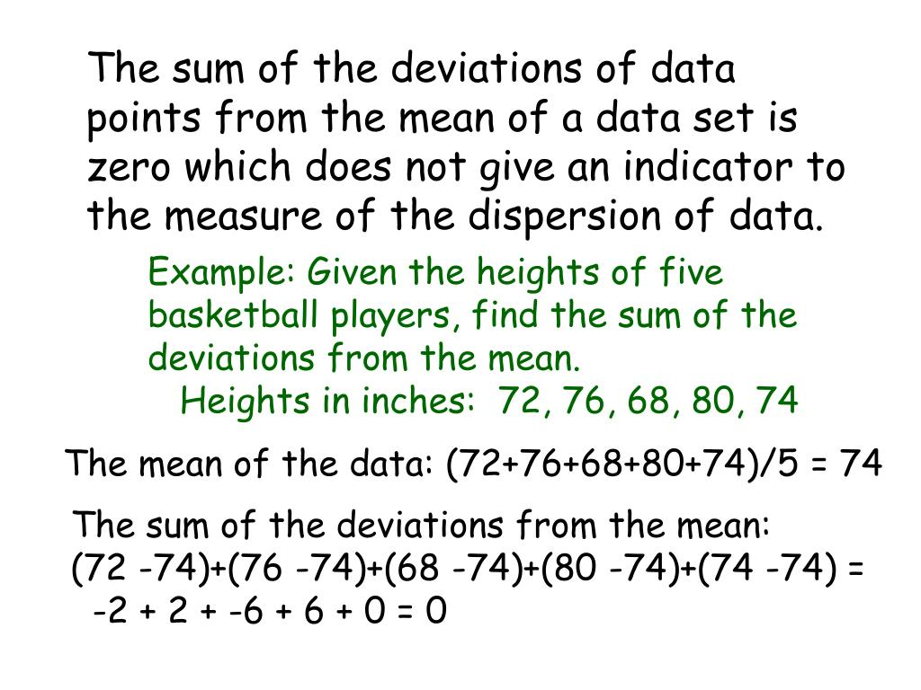 The sum of the deviations of data points from the mean of a data set is zero which does not give an indicator to the measure of the dispersion of data.