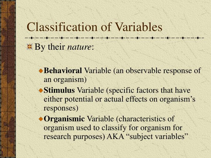 Classification of Variables
