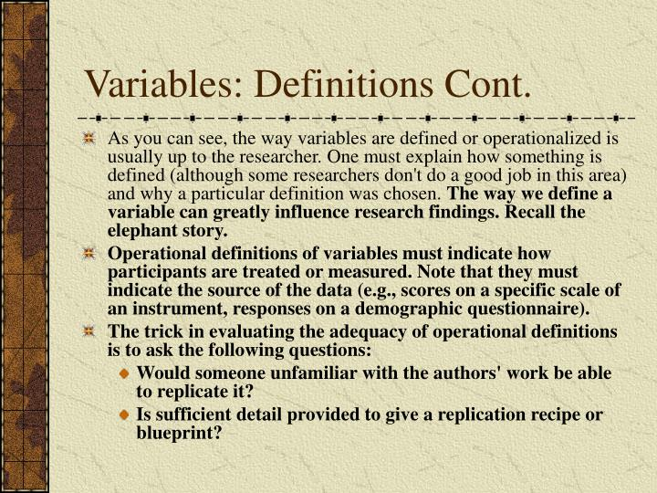 Variables: Definitions Cont.