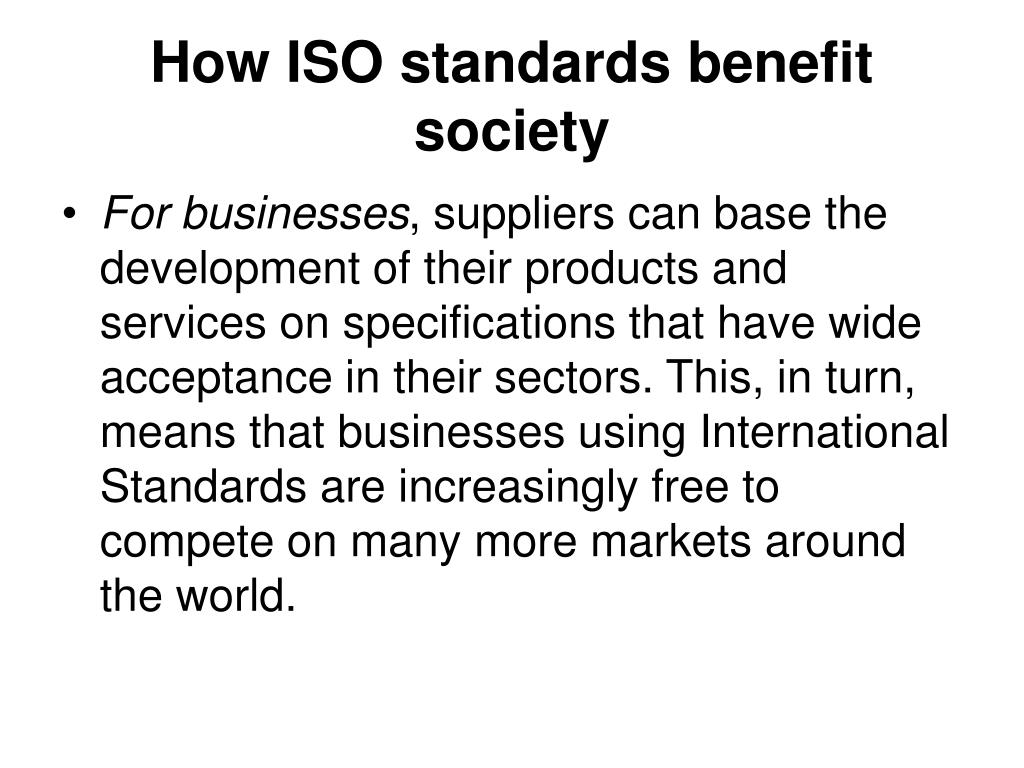 How ISO standards benefit society