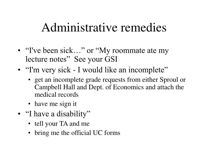 Administrative remedies
