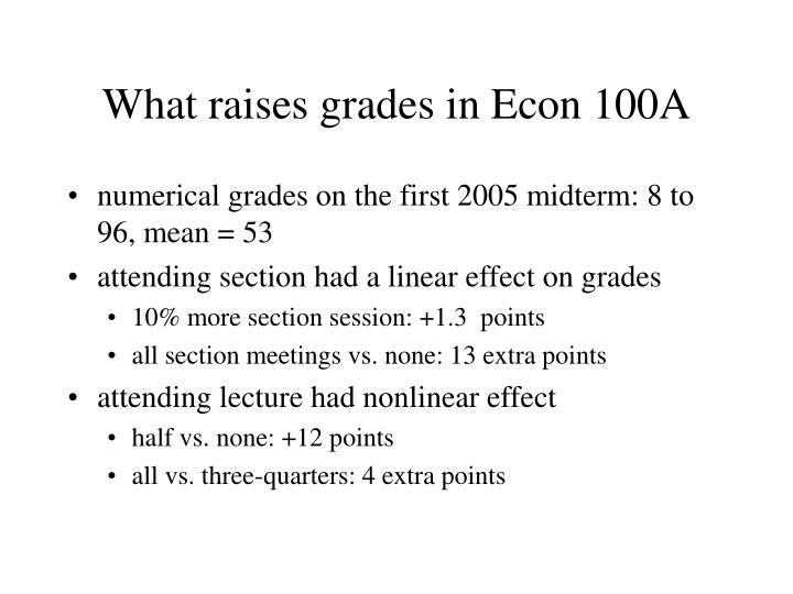 What raises grades in Econ 100A