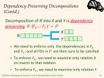 dependency preserving decompositions contd