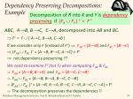 dependency preserving decompositions example