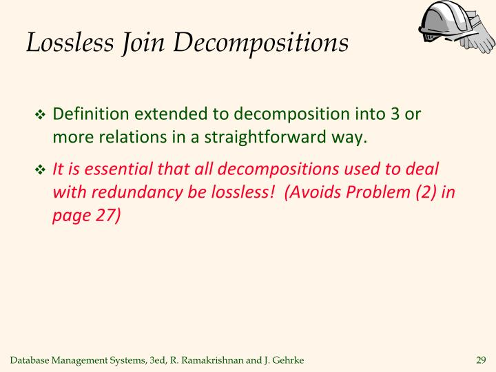 Lossless Join Decompositions