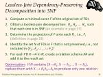 lossless join dependency preserving decomposition into 3nf