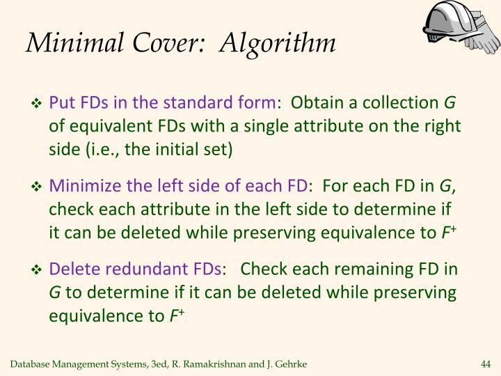 Minimal Cover:  Algorithm