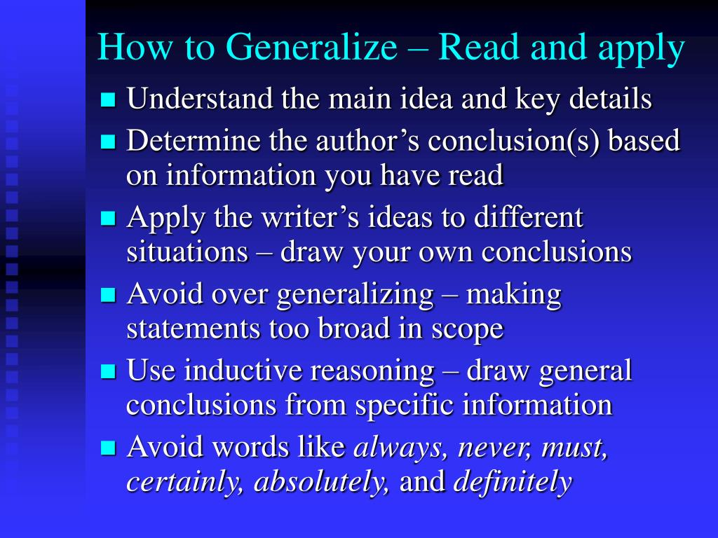 How to Generalize – Read and apply