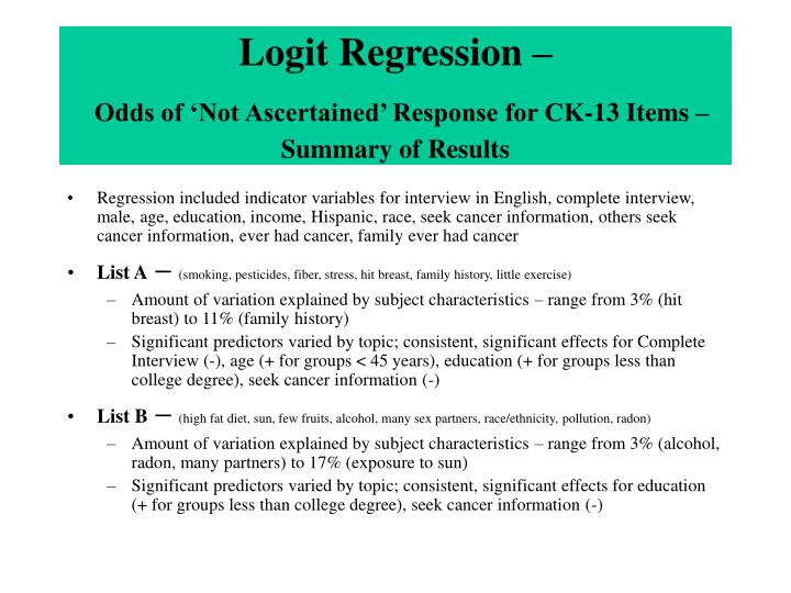 Logit Regression –