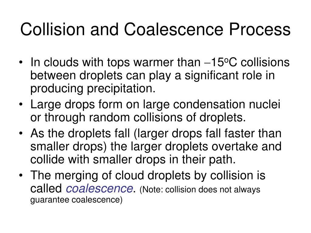 Collision and Coalescence Process