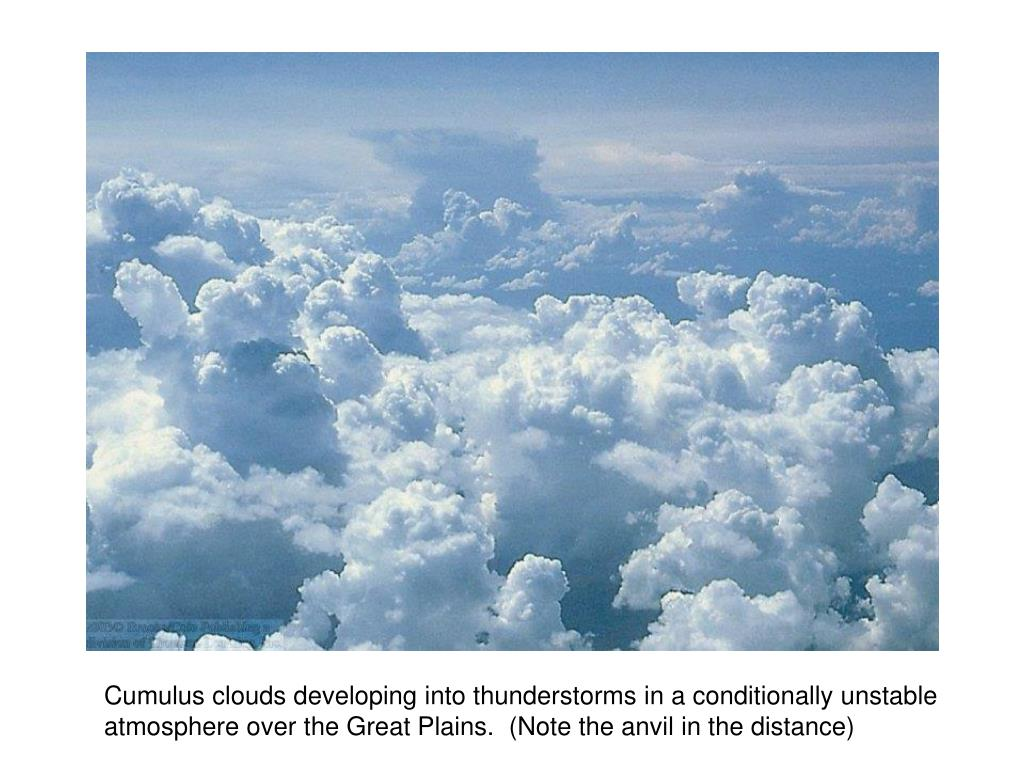 Cumulus clouds developing into thunderstorms in a conditionally unstable