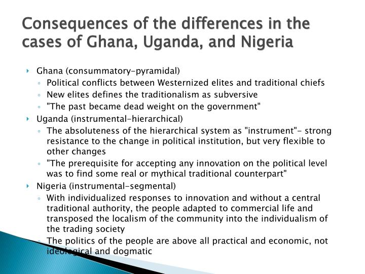 Consequences of the differences in the cases of Ghana, Uganda, and Nigeria