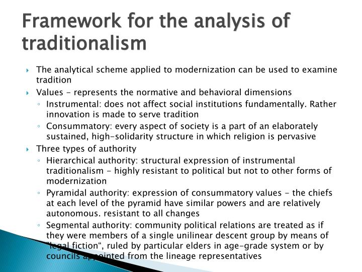 Framework for the analysis of traditionalism