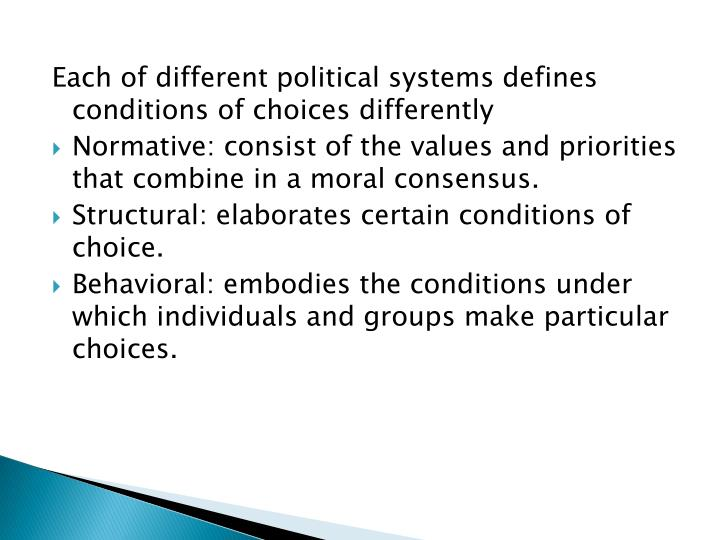 Each of different political systems defines conditions of choices differently