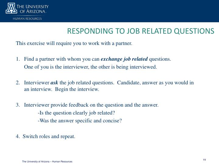 RESPONDING TO JOB RELATED QUESTIONS