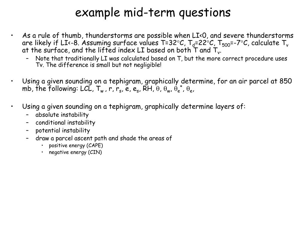 example mid-term questions