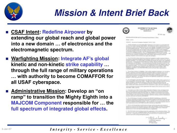 Mission intent brief back