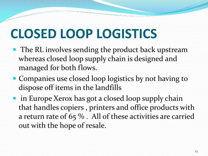 CLOSED LOOP LOGISTICS