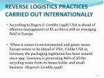 reverse logistics practices carried out internationally