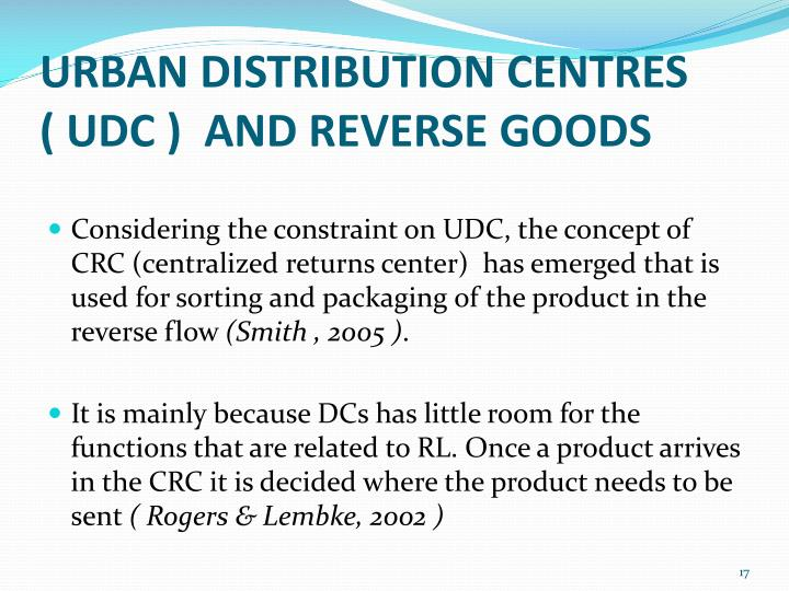 URBAN DISTRIBUTION CENTRES