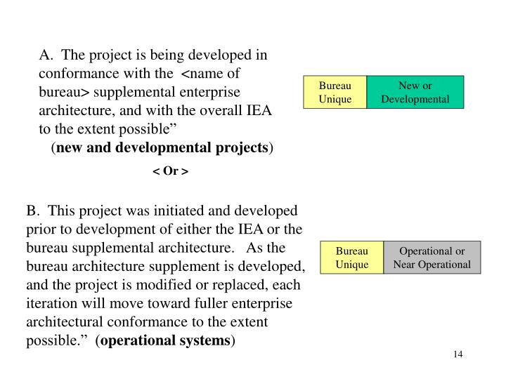 A.  The project is being developed in conformance with the  <name of bureau> supplemental enterprise architecture, and with the overall IEA to the extent possible""