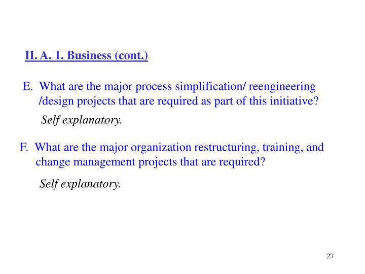 II. A. 1. Business (cont.)