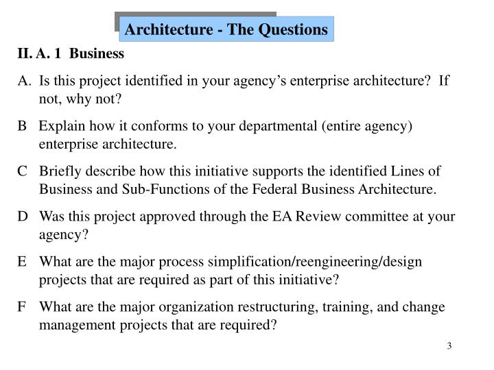 Architecture - The Questions