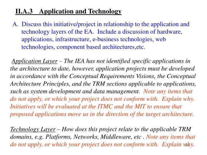 II.A.3  Application and Technology