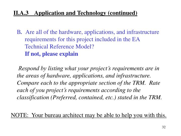 II.A.3  Application and Technology (continued)