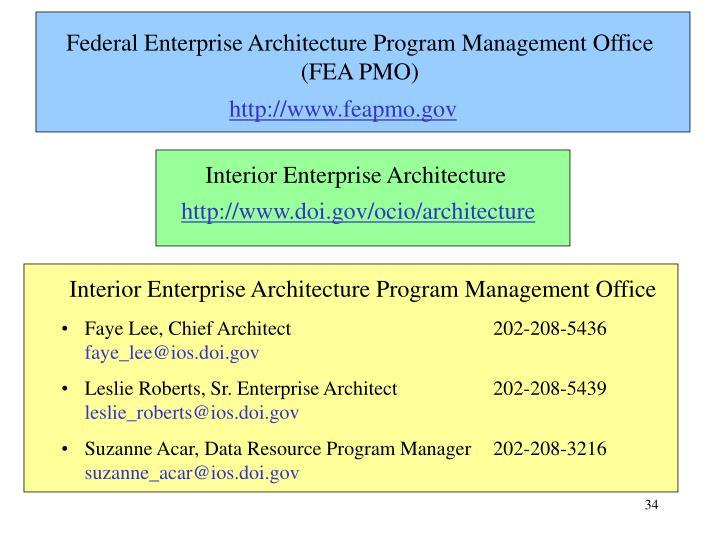 Federal Enterprise Architecture Program Management Office  (FEA PMO)