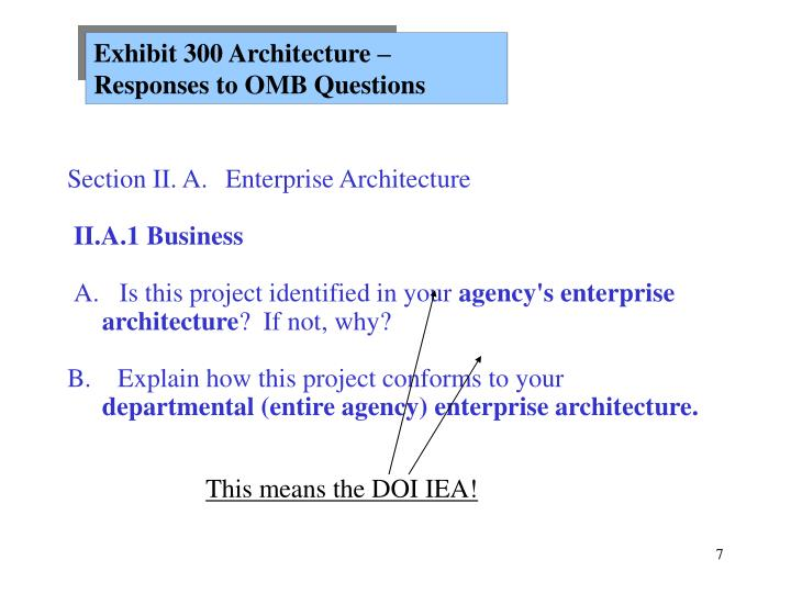 Exhibit 300 Architecture – Responses to OMB Questions