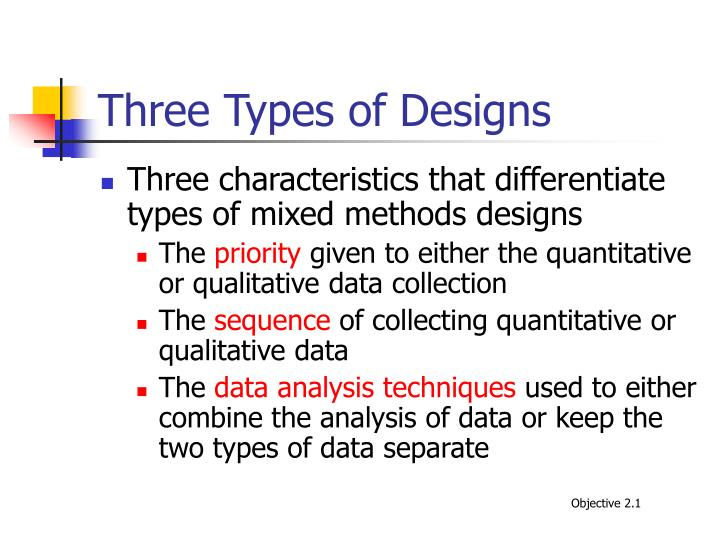 Three Types of Designs