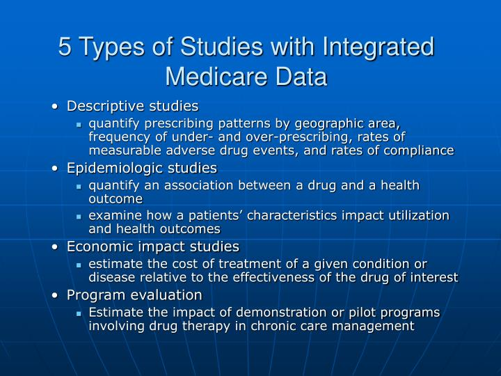 5 types of studies with integrated medicare data