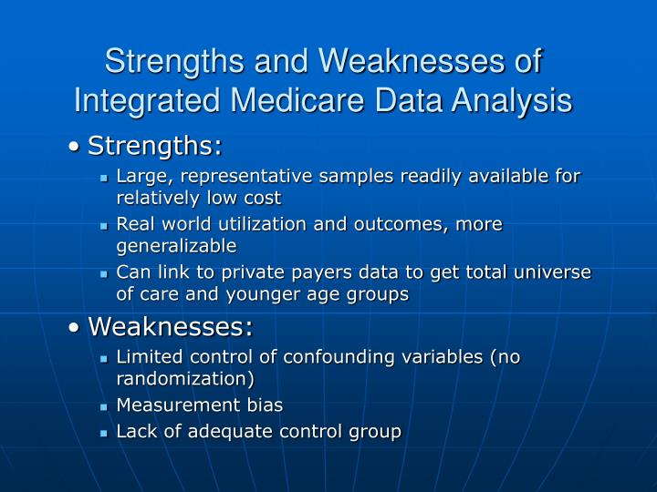 Strengths and Weaknesses of Integrated Medicare Data Analysis