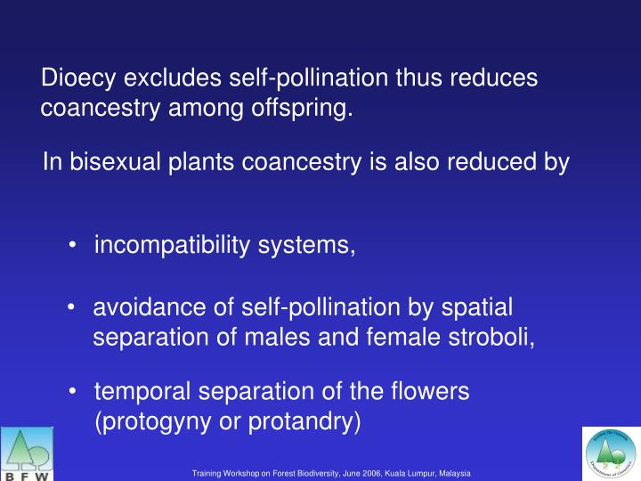 Dioecy excludes self-pollination thus reduces coancestry among offspring.