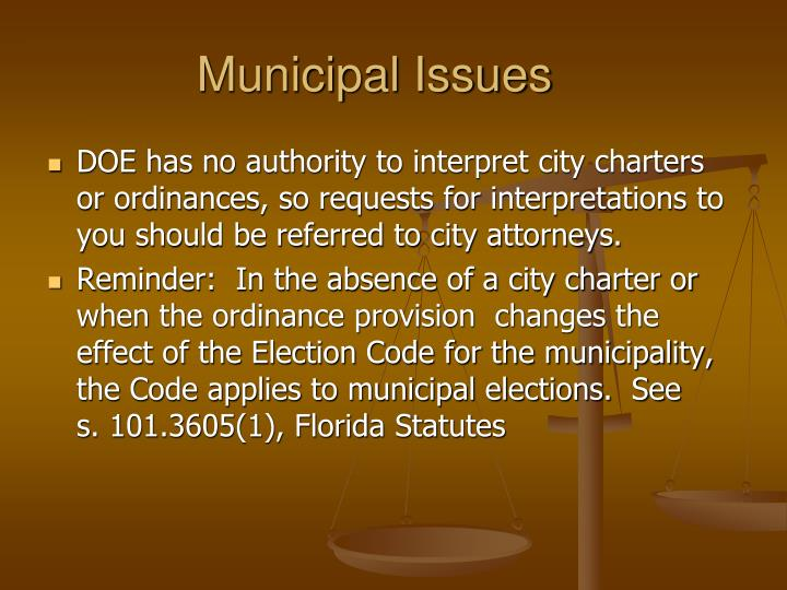 Municipal issues