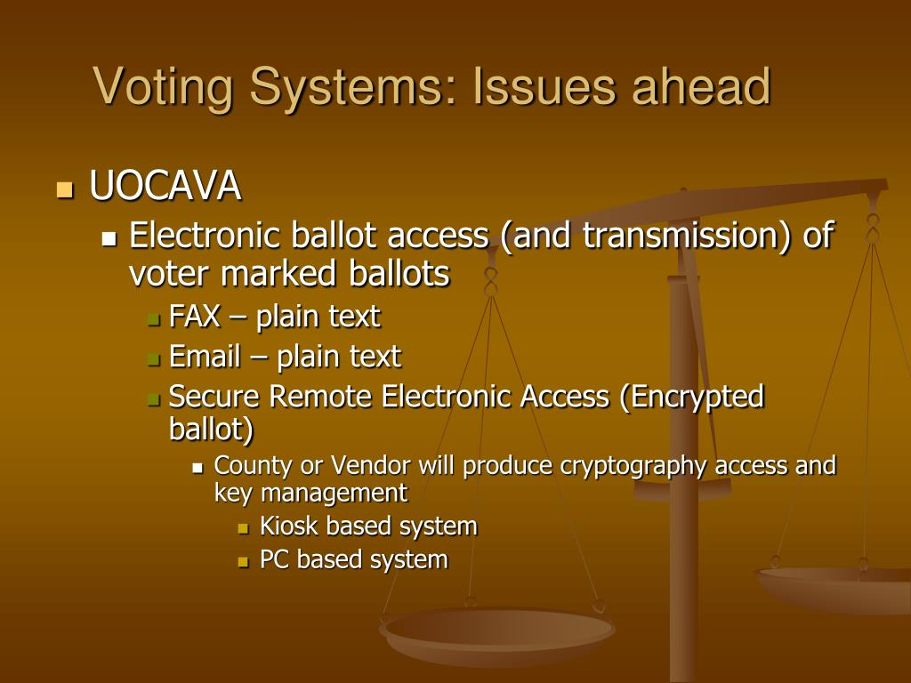Voting Systems: Issues ahead