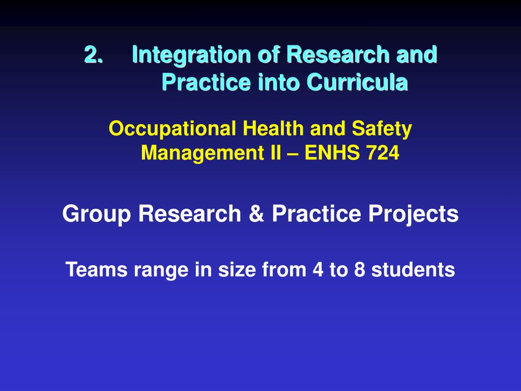2.Integration of Research and Practice into Curricula
