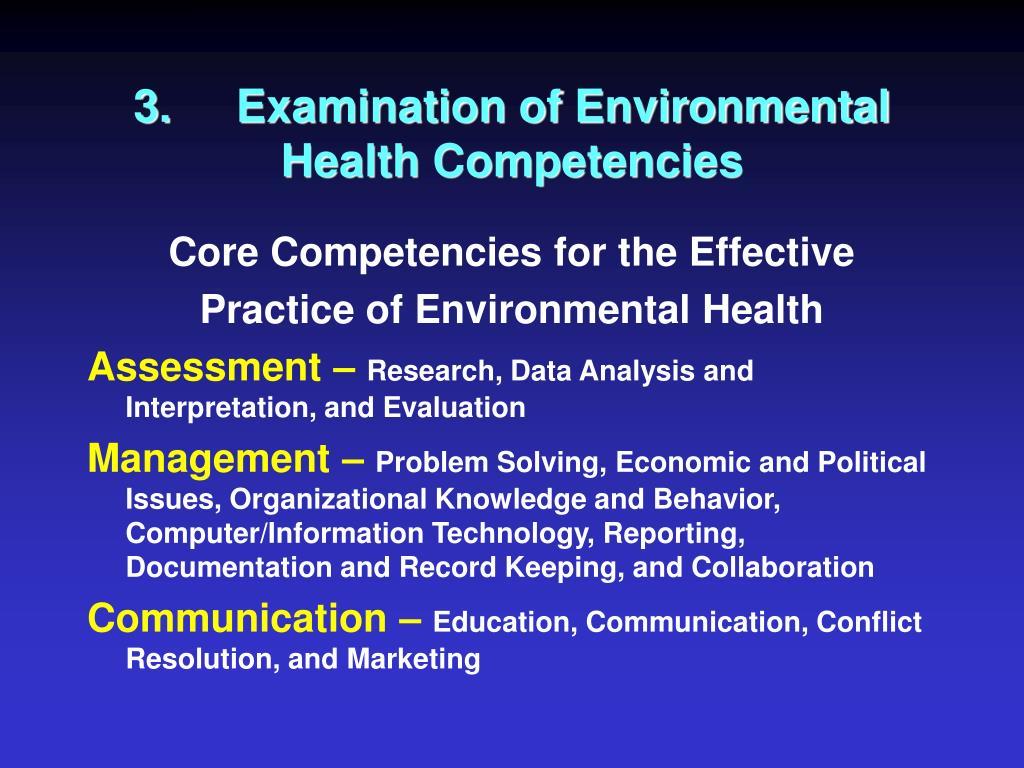 3.Examination of Environmental Health Competencies