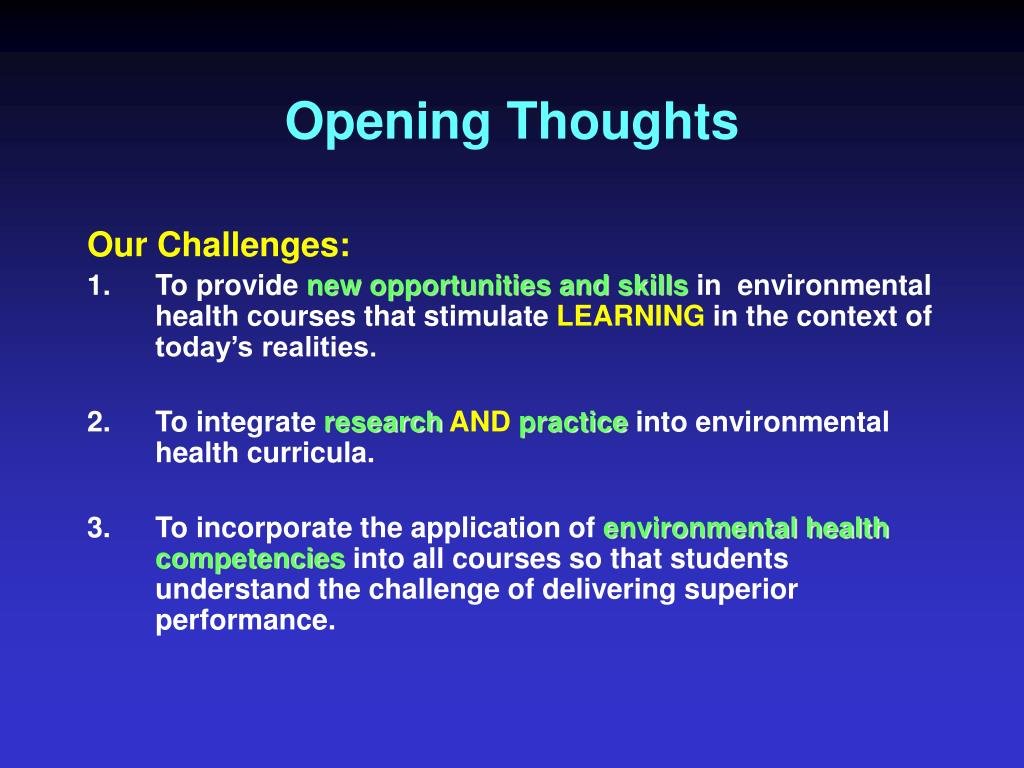 Opening Thoughts