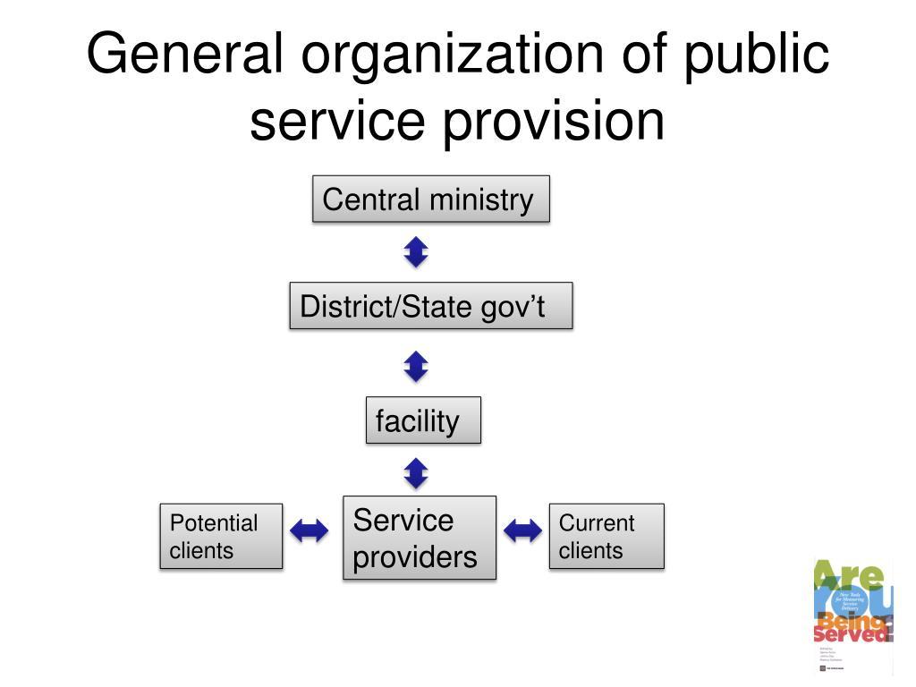 General organization of public service provision